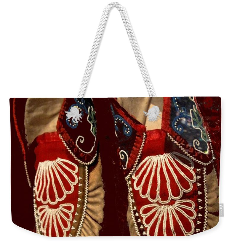Aboriginal Weekender Tote Bag featuring the photograph Moccasins by Ian MacDonald