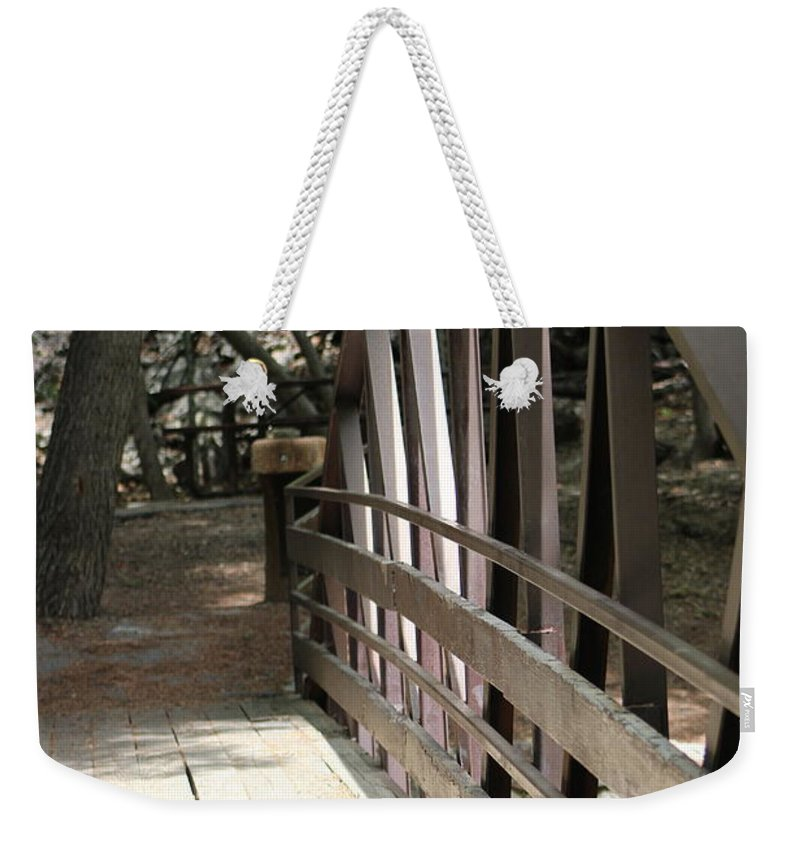 Mocha Cappuccino Weekender Tote Bag featuring the photograph Mocha Colored Walking Bridge In American Fork Canyon Utah by Colleen Cornelius