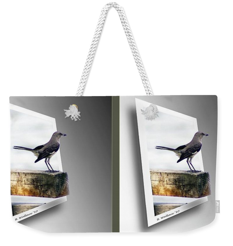3d Weekender Tote Bag featuring the photograph Mockingbird - Gently Cross Your Eyes And Focus On The Middle Image by Brian Wallace