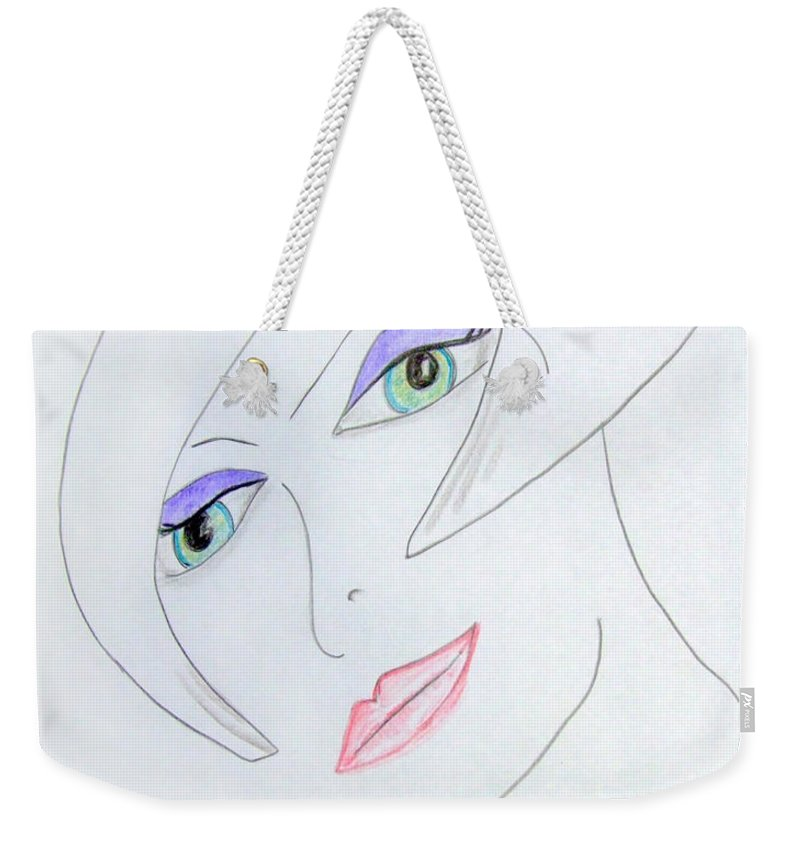 Girl Weekender Tote Bag featuring the drawing Model 1920 by Donna Blackhall