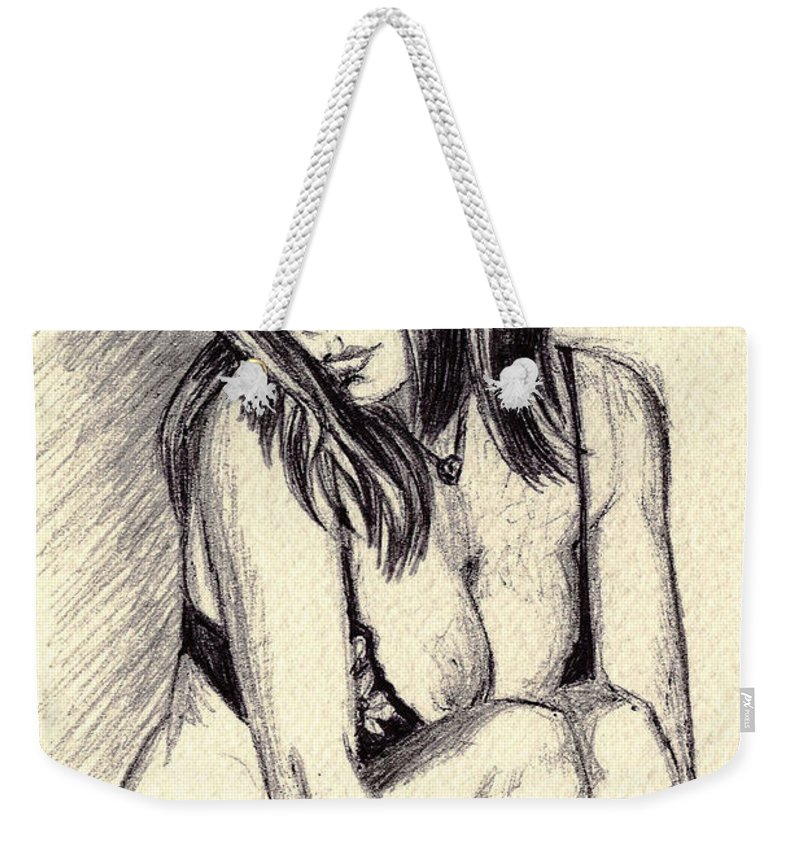 Weekender Tote Bag featuring the drawing Model Quick Drawing by Alban Dizdari