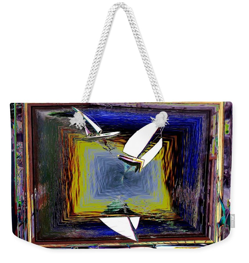 Sail Weekender Tote Bag featuring the digital art Model Sailboats by Tim Allen