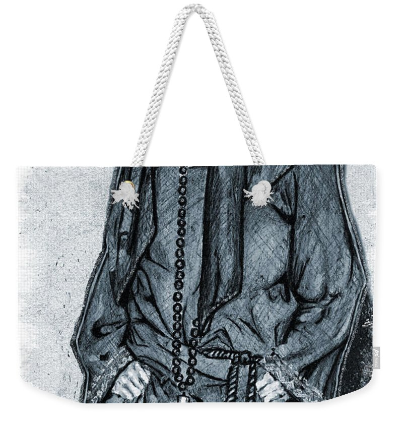 Model Weekender Tote Bag featuring the mixed media Model Wearing A Religeous Uniform by Alban Dizdari