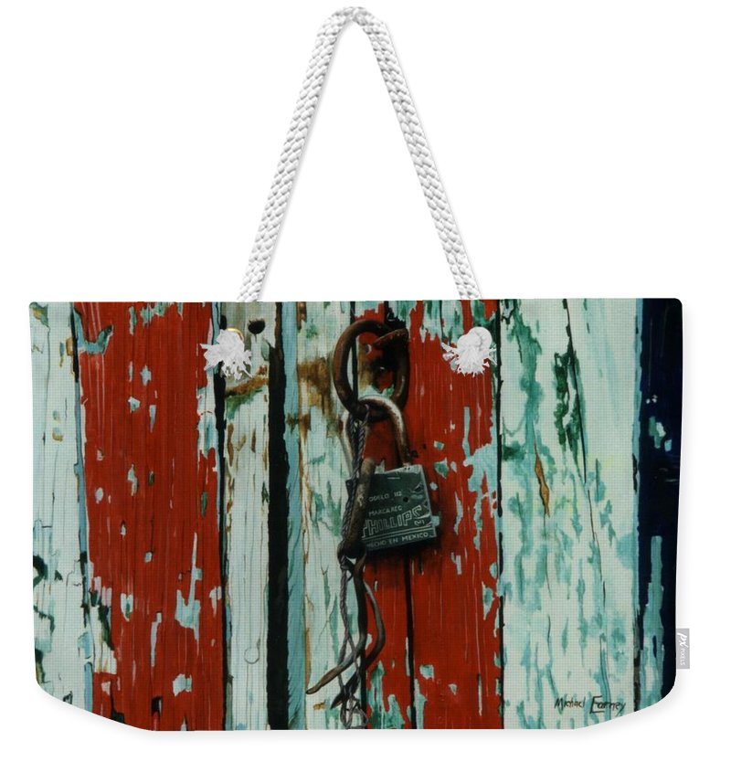 Hyperrealism Weekender Tote Bag featuring the painting Modelo 112 by Michael Earney