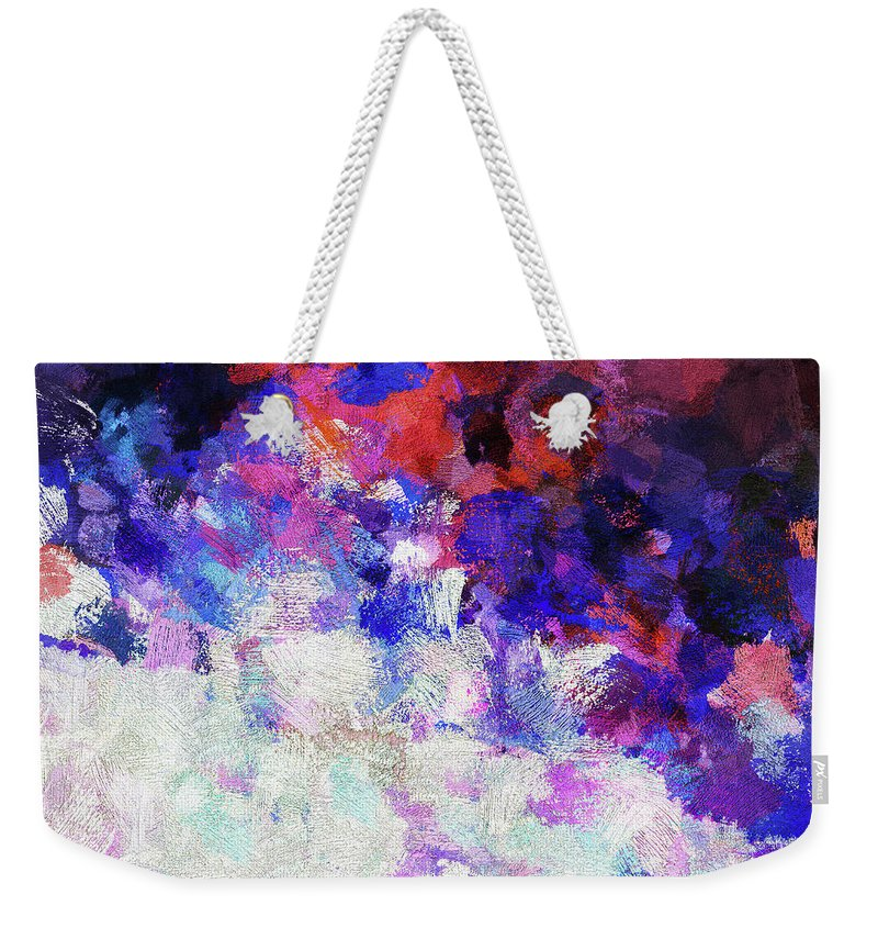 Abstract Weekender Tote Bag featuring the painting Modern Abstract Painting In Blue by Inspirowl Design