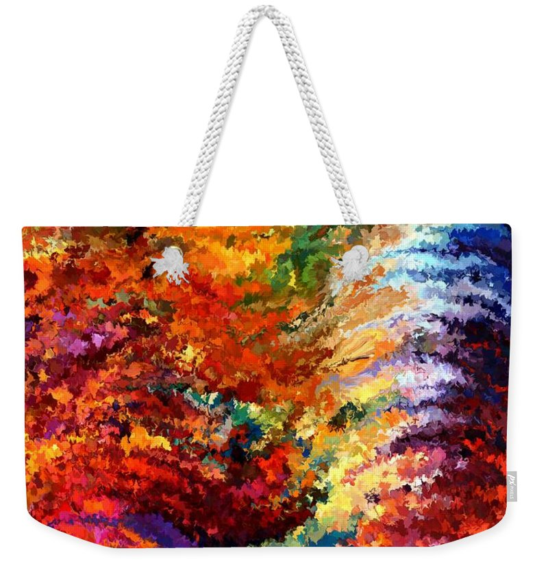 Contemporary Weekender Tote Bag featuring the painting Modern Composition 14 by Rafi Talby