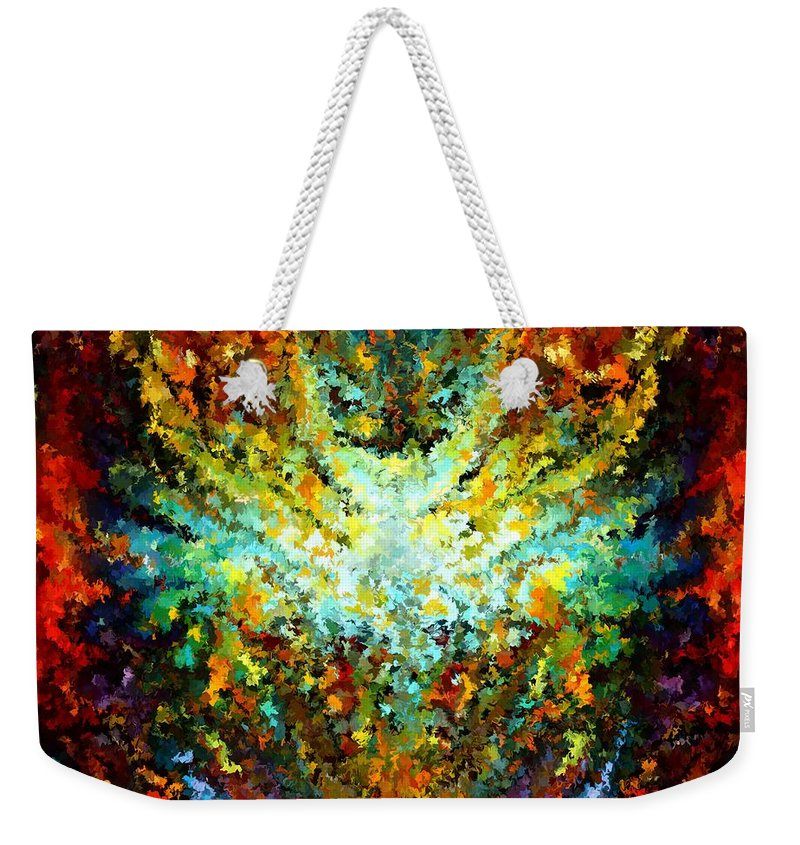 Contemporary Weekender Tote Bag featuring the painting Modern Composition 16 by Rafi Talby