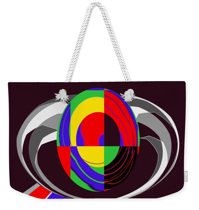 Modern Egg Weekender Tote Bag featuring the painting Modern Egg by Methune Hively