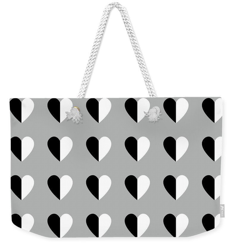 Hearts Weekender Tote Bag featuring the mixed media Modern Hearts- Art By Linda Woods by Linda Woods