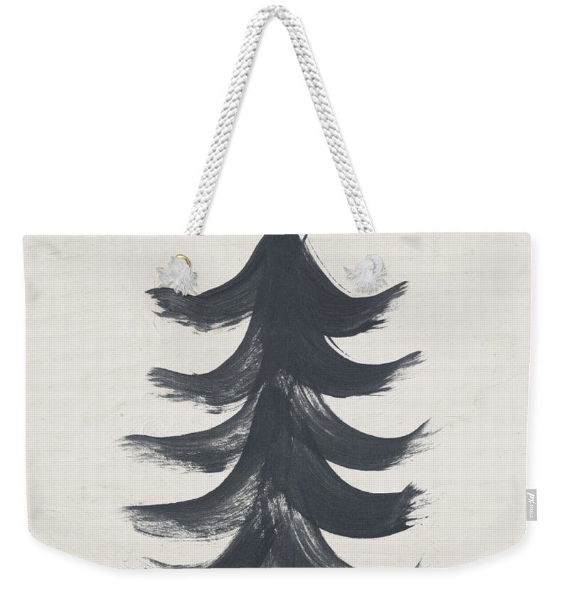 Contemporary Weekender Tote Bag featuring the painting Modern Primitive Black and Gold Tree 1- Art by Linda Woods by Linda Woods