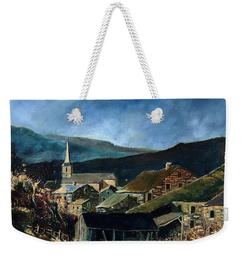 Village Weekender Tote Bag featuring the painting Mogimont Village Ardennes by Pol Ledent