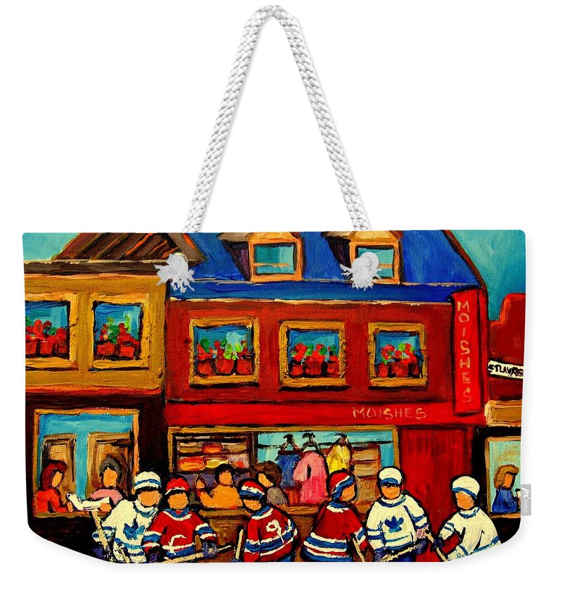 Moishes Steakhouse Weekender Tote Bag featuring the painting Moishes Steakhouse Hockey Practice by Carole Spandau
