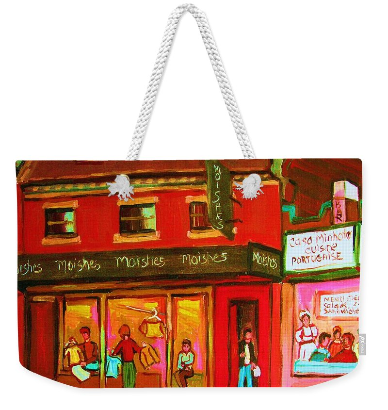Moishes Weekender Tote Bag featuring the painting Moishes Steakhouse On The Main by Carole Spandau