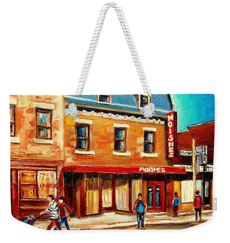 Moishes Steakhouse Weekender Tote Bag featuring the painting Moishes The Place For Steaks by Carole Spandau
