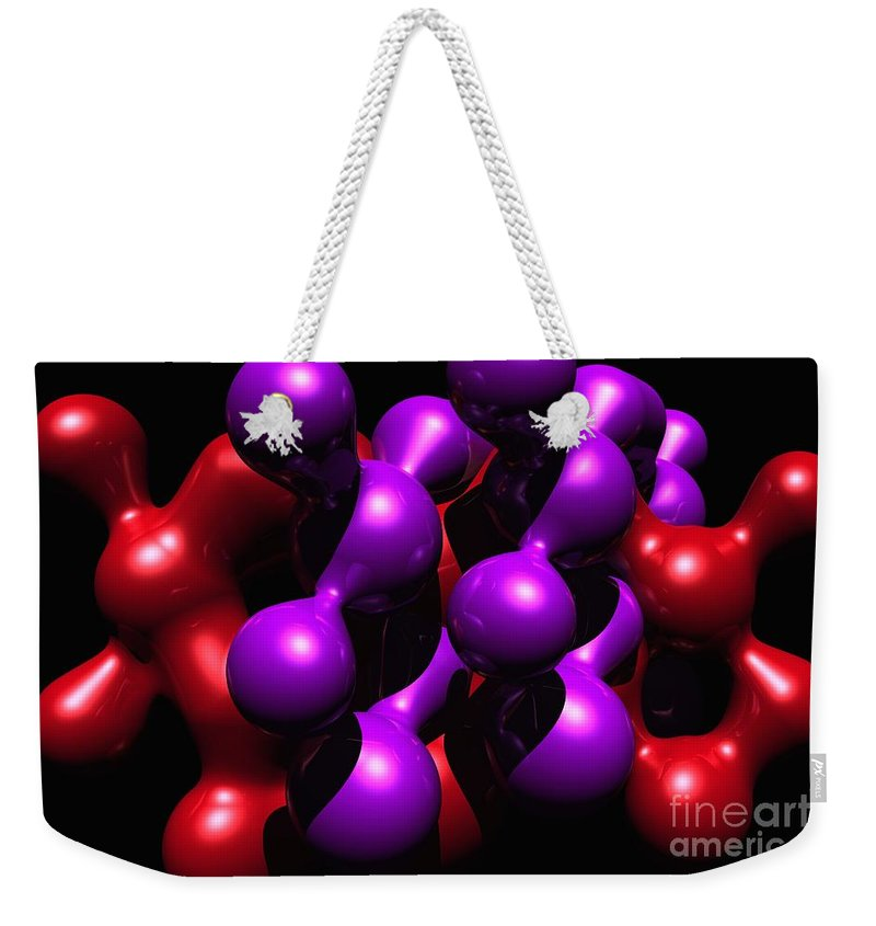 Abstract Weekender Tote Bag featuring the digital art Molecular Abstract by David Lane
