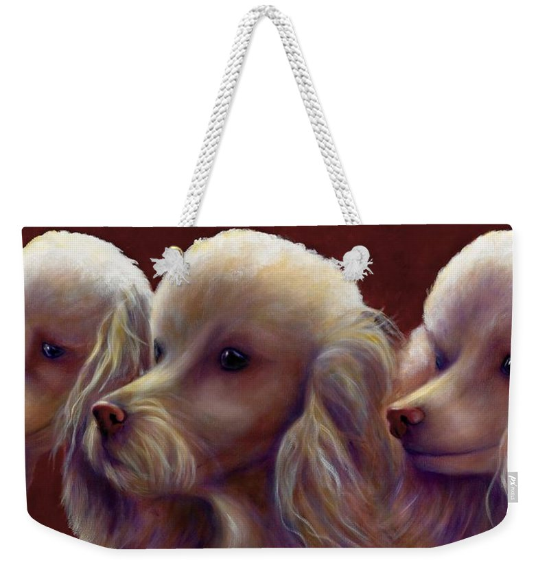 Dogs Weekender Tote Bag featuring the painting Molly Charlie And Abby by Shannon Grissom