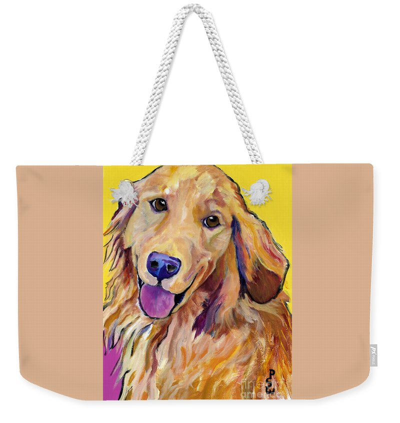 Acrylic Paintings Weekender Tote Bag featuring the painting Molly by Pat Saunders-White