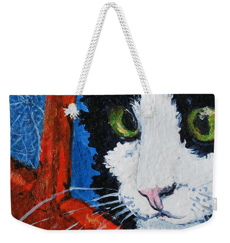 Cat Weekender Tote Bag featuring the painting Molly by Reina Resto