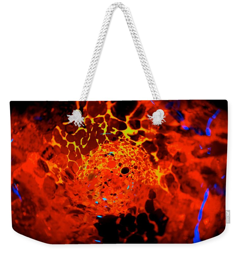 Lava Weekender Tote Bag featuring the photograph Molten Birth by Tim G Ross