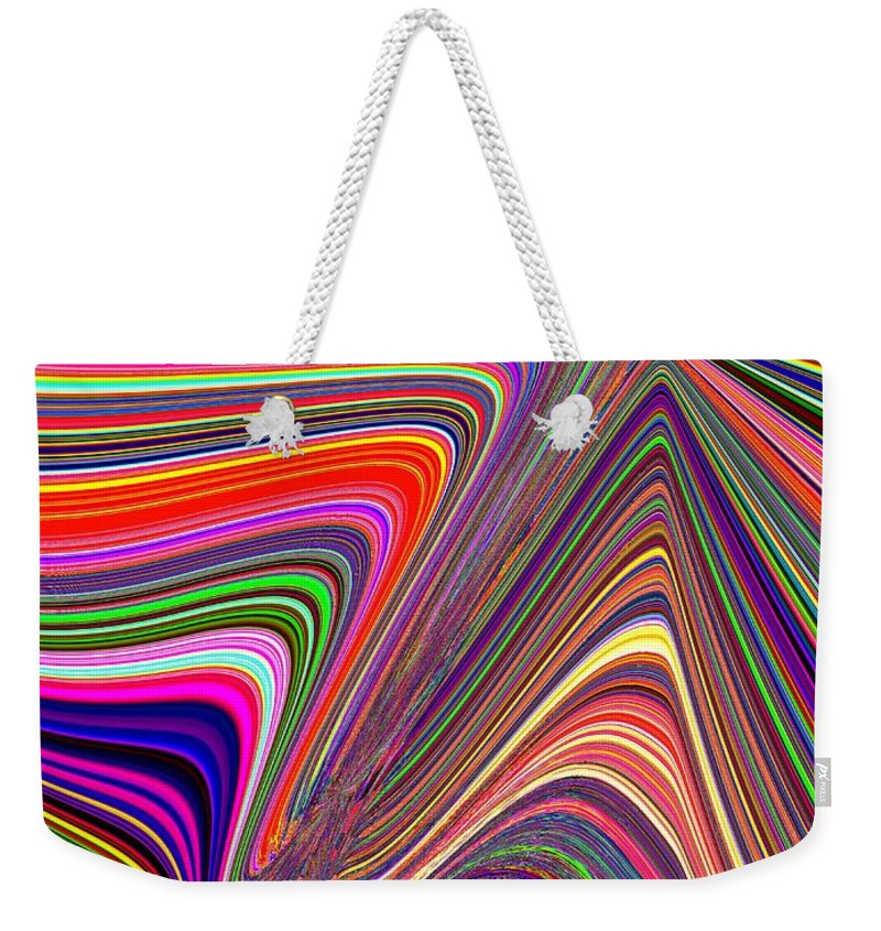 Abstract Weekender Tote Bag featuring the digital art Molten Rainbow by Tim Allen