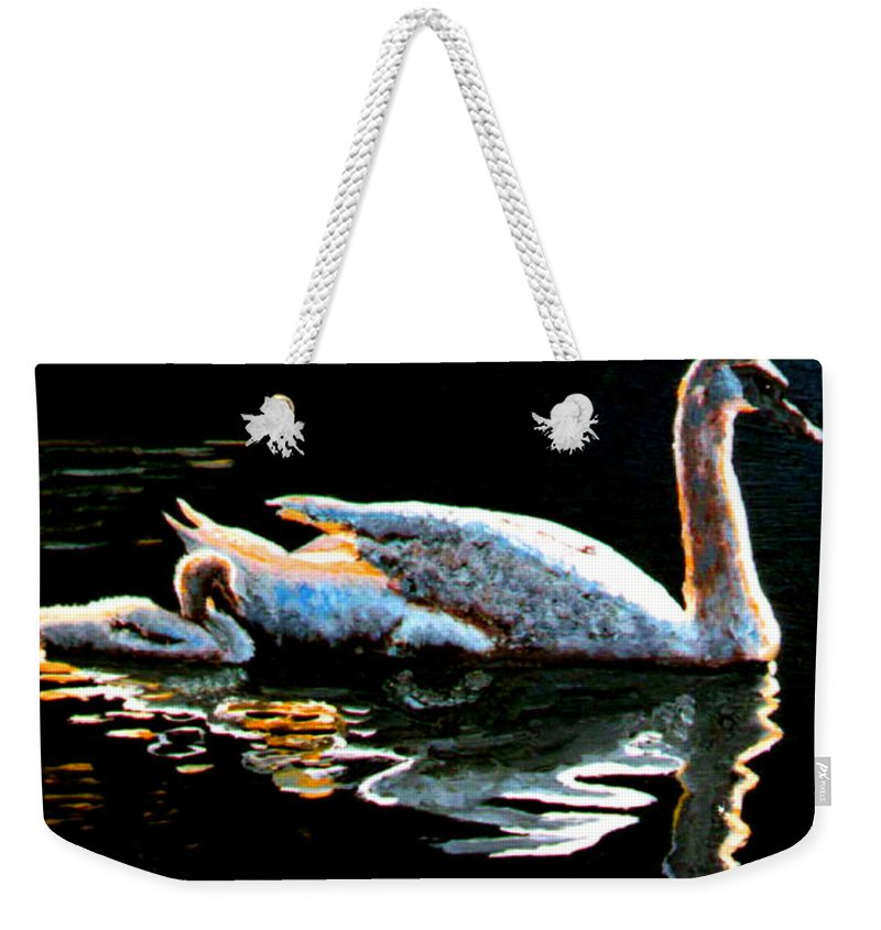 Swan Weekender Tote Bag featuring the painting Mom And Baby Swan by Stan Hamilton