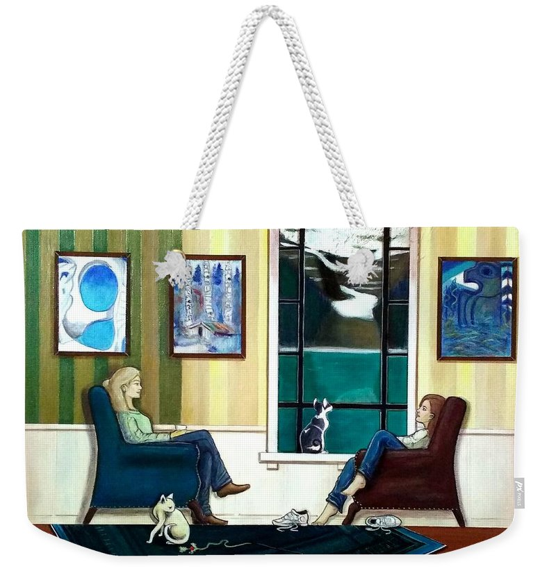 John Lyes Weekender Tote Bag featuring the painting Mom And Daughter Sitting In Chairs With Sphynxes by John Lyes