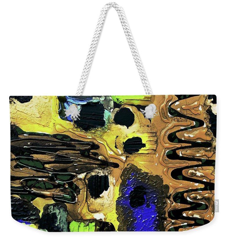 Keith Elliott Weekender Tote Bag featuring the painting Mom, I Got Sick - V1ll100 by Keith Elliott