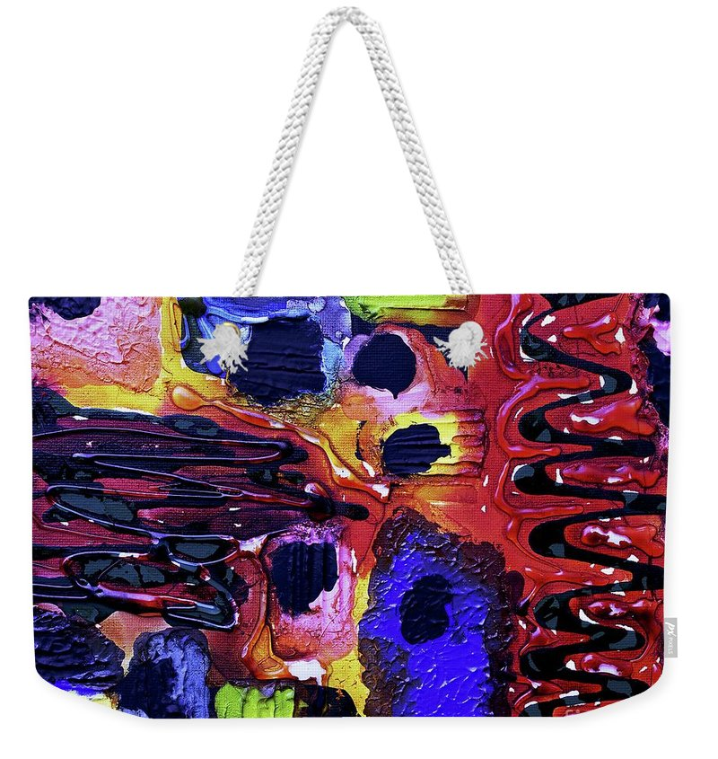 Keith Elliott Weekender Tote Bag featuring the painting Mom, I Got Sick - V1rse100 by Keith Elliott