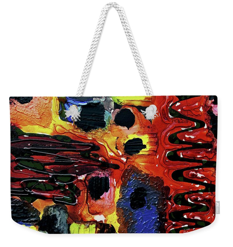 Keith Elliott Weekender Tote Bag featuring the painting Mom, I Got Sick - V1sb100 by Keith Elliott