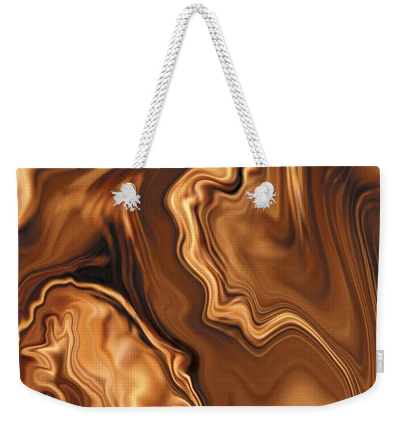 Abstract Adam Art Blue Brown Copper Digital Eve Figurative Khan Kiss Love Night Passion Rabi_khan Se Weekender Tote Bag featuring the digital art Moment Before The Kiss by Rabi Khan