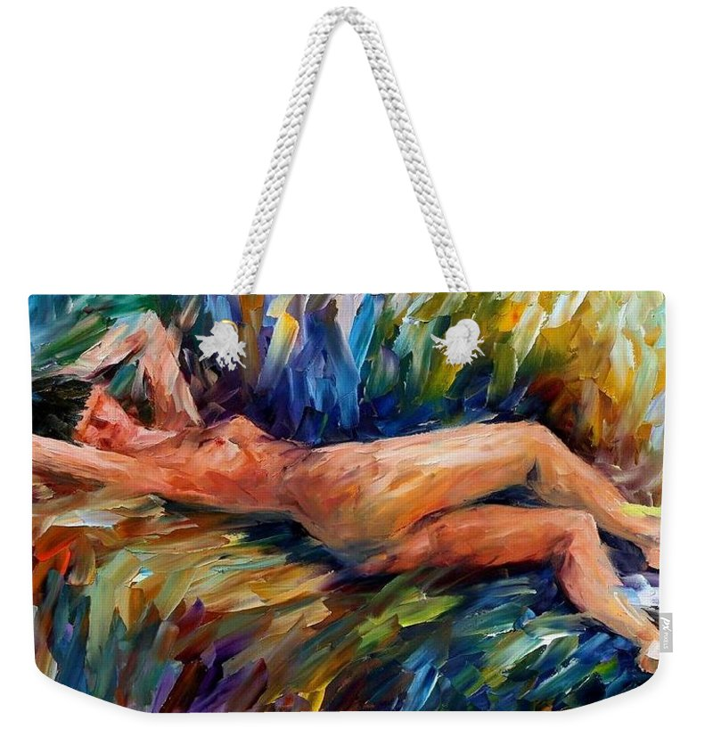 Nude Weekender Tote Bag featuring the painting Moment Of Pleasure by Leonid Afremov