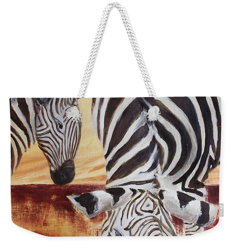 Animal Weekender Tote Bag featuring the painting Momma And Baby by Todd A Blanchard