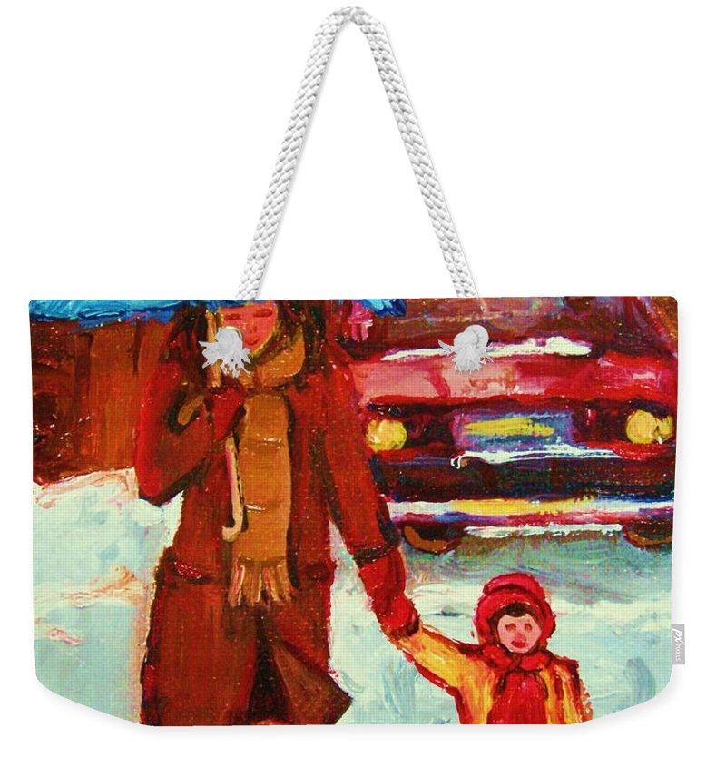 Montreal Weekender Tote Bag featuring the painting Moms Blue Umbrella by Carole Spandau