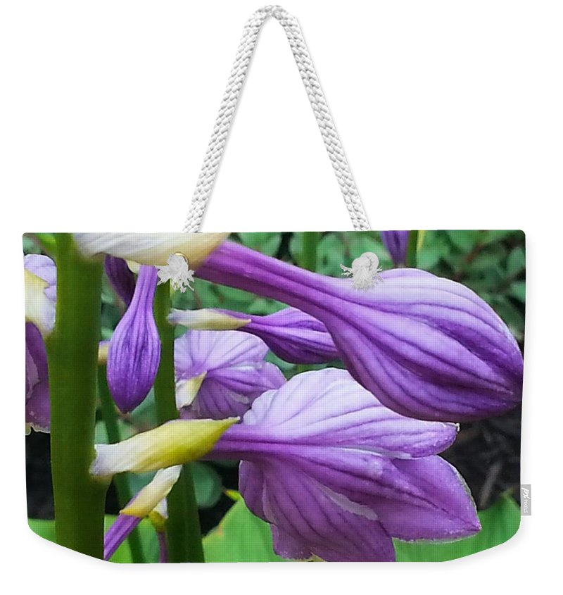 Flowers Weekender Tote Bag featuring the photograph Mom's Garden by Shelly Dixon