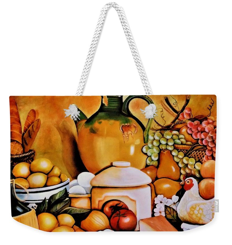 Still Life Weekender Tote Bag featuring the painting Mom's Kitchen by Dalgis Edelson