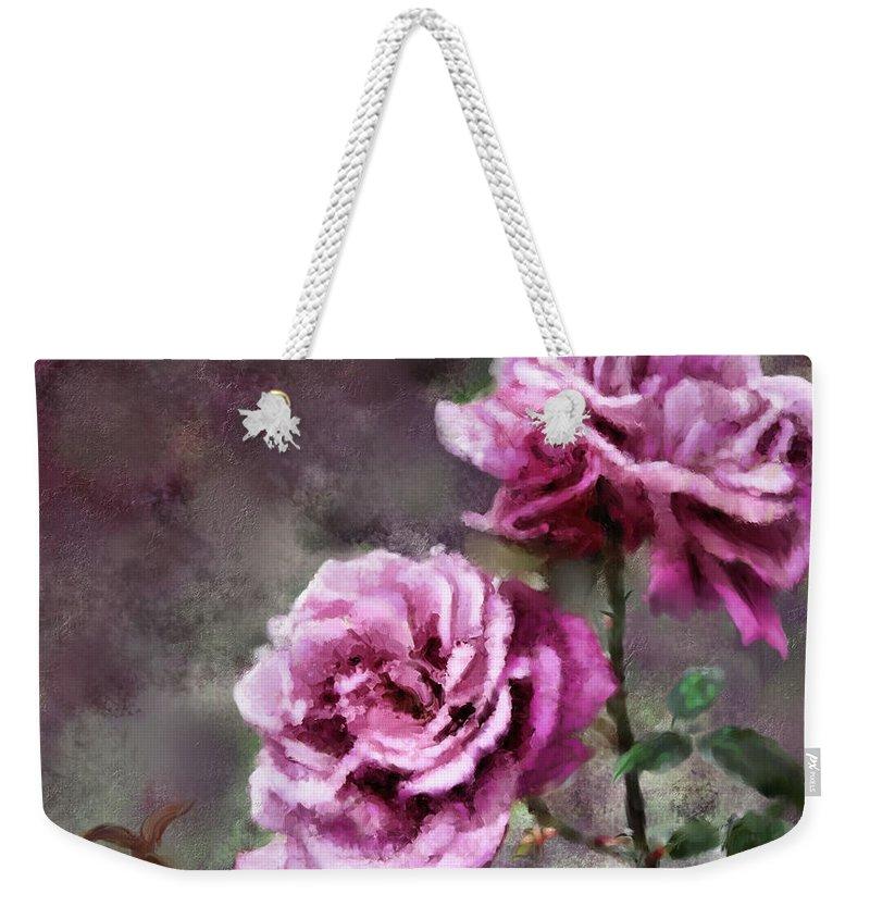 Digital Painting Weekender Tote Bag featuring the digital art Moms Roses by Susan Kinney