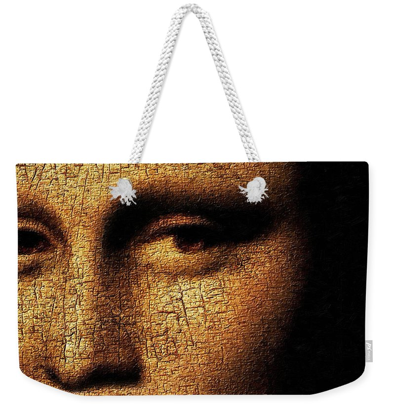 Mona Lisa Weekender Tote Bag featuring the painting Mona Lisa Eyes 3 by Tony Rubino