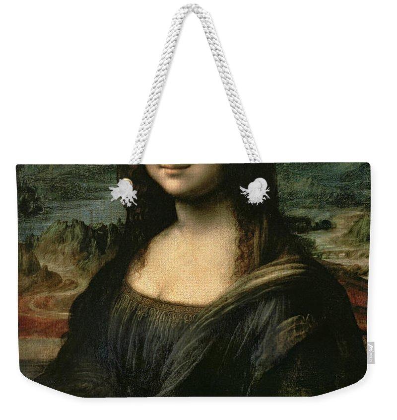 Mona Weekender Tote Bag featuring the painting Mona Lisa by Leonardo da Vinci