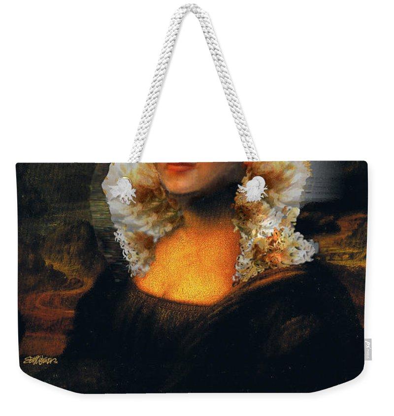 Mona Lisa Weekender Tote Bag featuring the digital art Mona Marilyn by Seth Weaver