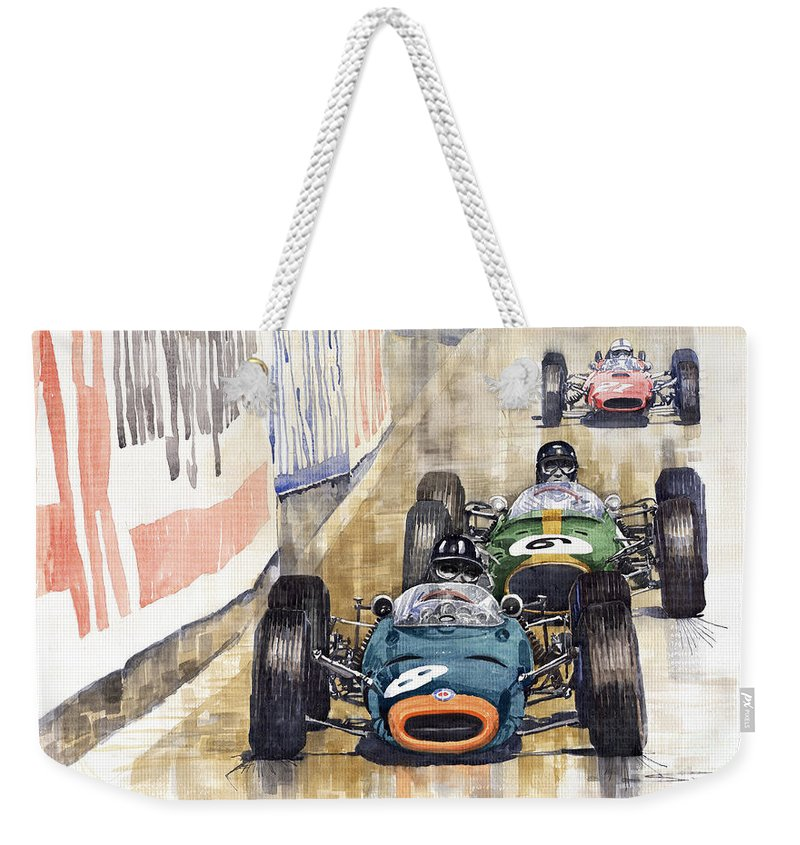 Watercolour Weekender Tote Bag featuring the painting Monaco Gp 1964 Brm Brabham Ferrari by Yuriy Shevchuk
