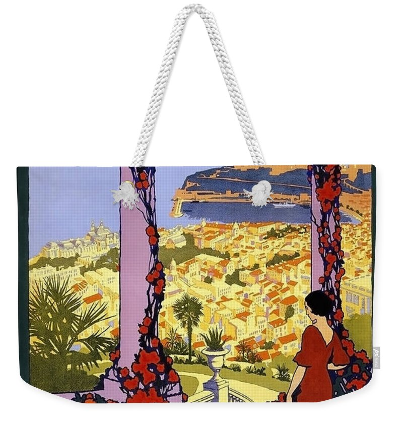 Monaco Weekender Tote Bag featuring the painting Monaco, Monte Carlo, View From Hotel Terrace by Long Shot