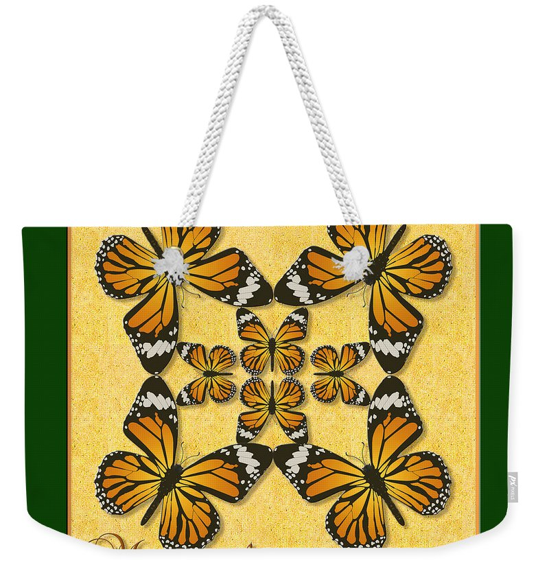 Butterfly Weekender Tote Bag featuring the photograph Monarch Butterfly Pin Wheel by Melissa A Benson