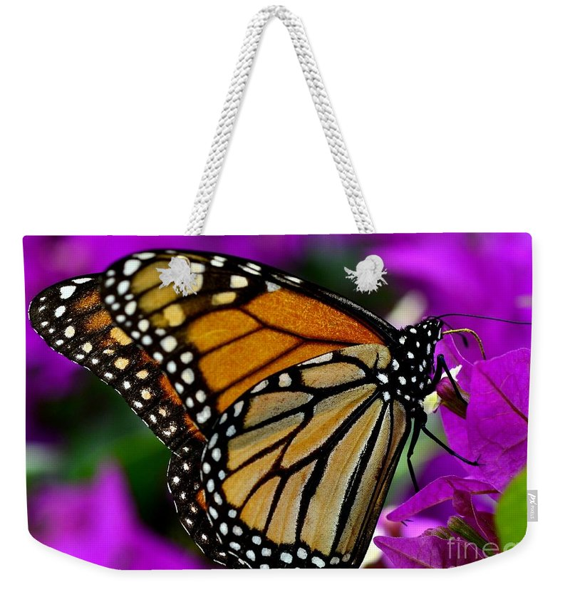 Butterfly Weekender Tote Bag featuring the photograph Monarch Dreams by Lisa Renee Ludlum