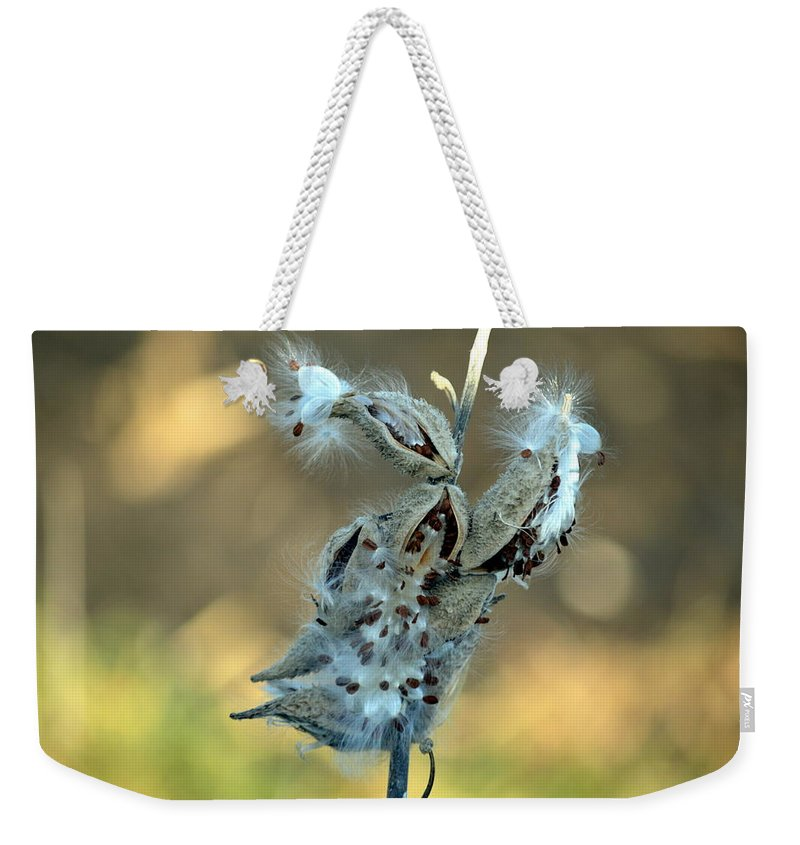Seeds Weekender Tote Bag featuring the photograph Monarch Seeds by Bonfire Photography