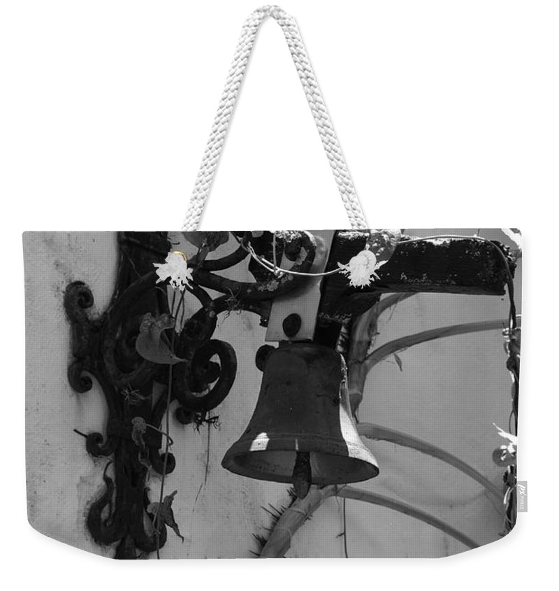 Black And White Weekender Tote Bag featuring the photograph Monastery Bell by Rob Hans