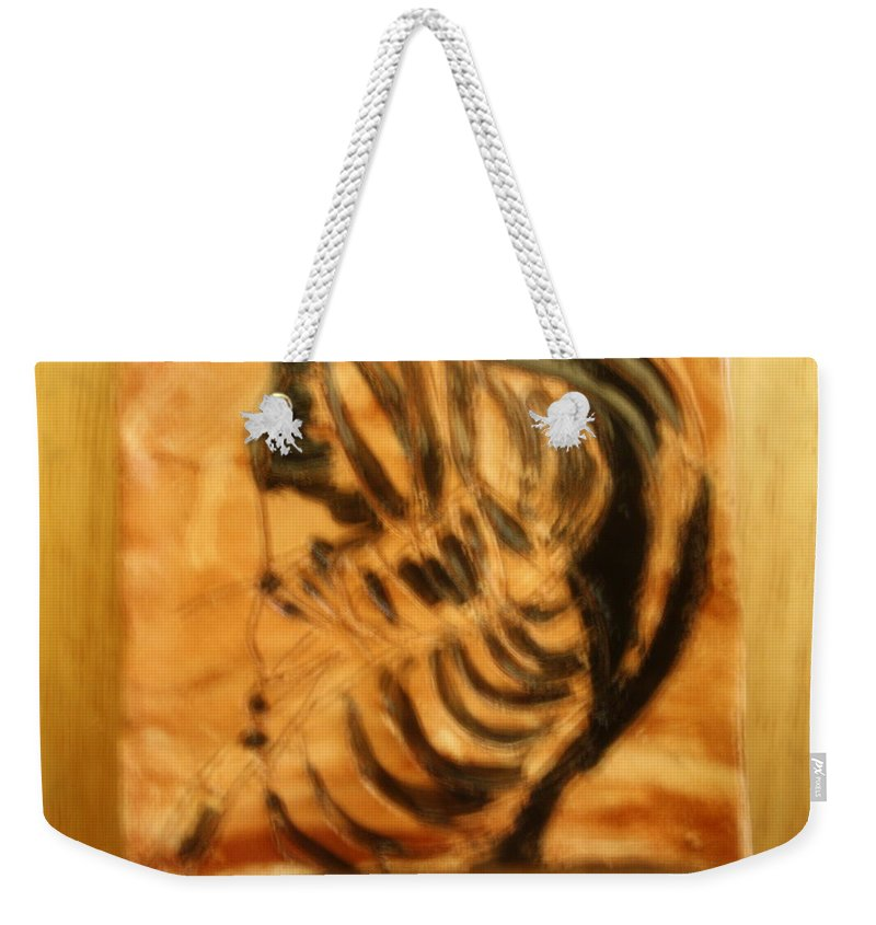 Jesus Weekender Tote Bag featuring the ceramic art Monday - Tile by Gloria Ssali
