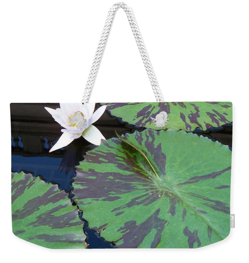 Photograph Weekender Tote Bag featuring the photograph Monet Lilies White by Eric Schiabor