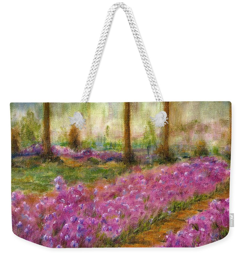 Monet Weekender Tote Bag featuring the painting Monet's Garden In Cannes by Jerome Stumphauzer