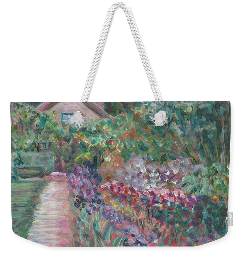Monet Weekender Tote Bag featuring the painting Monet's Gardens by Nadine Rippelmeyer