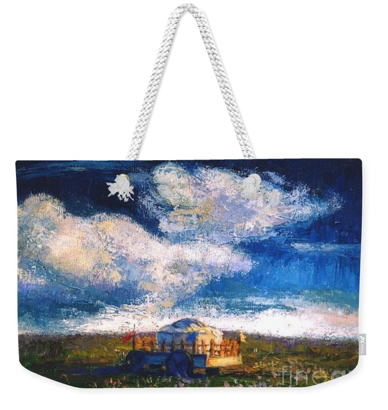 Momgolian Weekender Tote Bag featuring the painting Mongolian Home by Meihua Lu